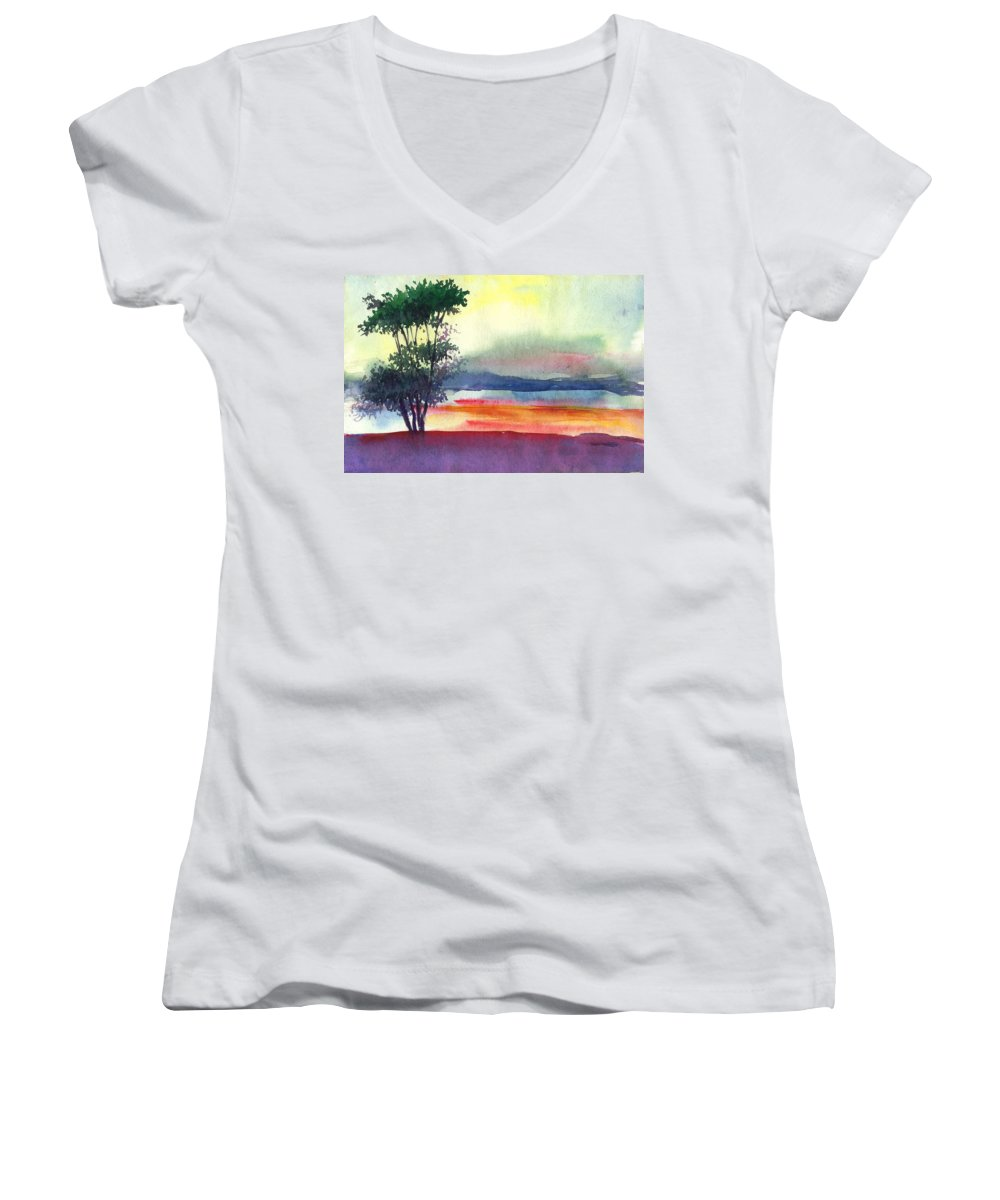 Water Color Women's V-Neck T-Shirt featuring the painting Evening Lights by Anil Nene