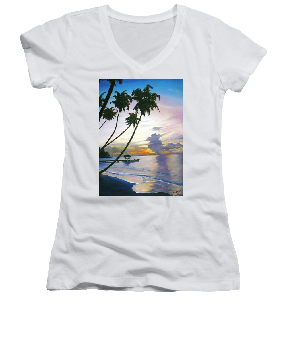 Ocean Painting Seascape Painting Beach Painting Sunset Painting Tropical Painting Tropical Painting Palm Tree Painting Tobago Painting Caribbean Painting Original Oil Of The Sun Setting Over Pigeon Point Tobago Women's V-Neck T-Shirt featuring the painting Eventide Tobago by Karin Dawn Kelshall- Best