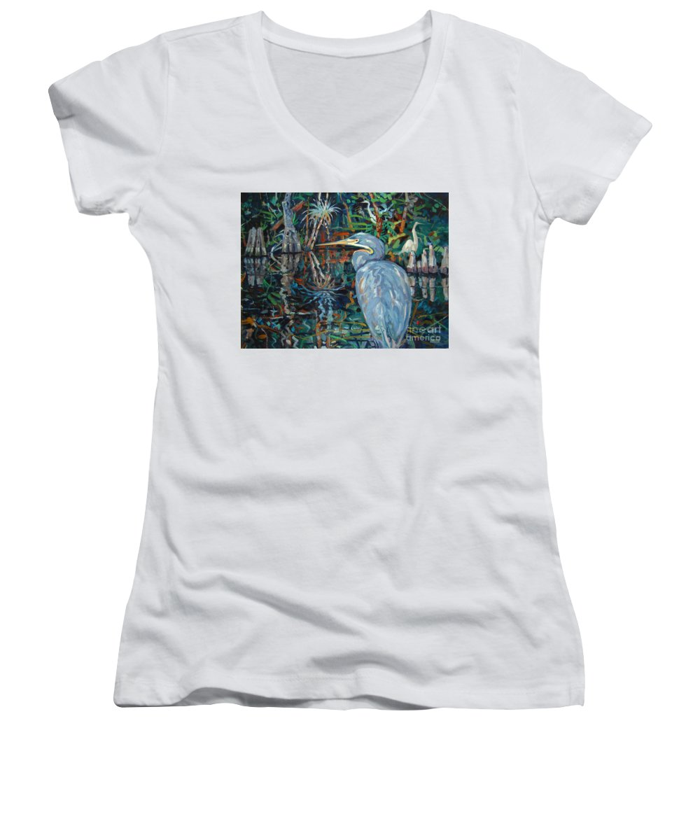 Blue Herron Women's V-Neck T-Shirt featuring the painting Everglades by Donald Maier