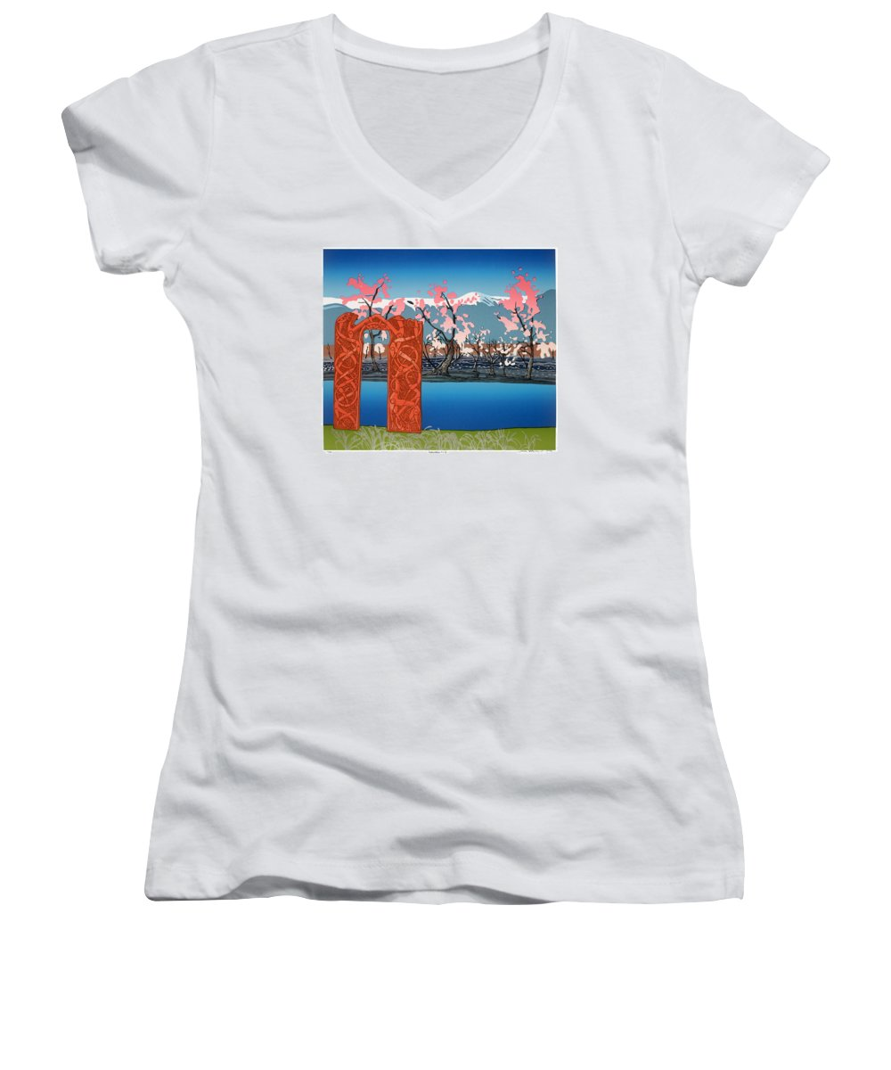 Landscape Women's V-Neck T-Shirt featuring the mixed media Exploration. by Jarle Rosseland