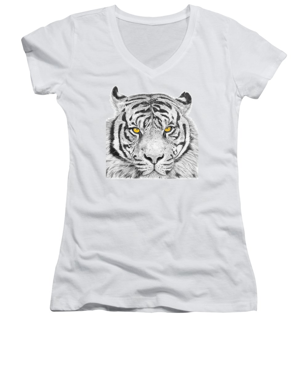 Tiger Women's V-Neck T-Shirt featuring the drawing Eyes Of The Tiger by Shawn Stallings