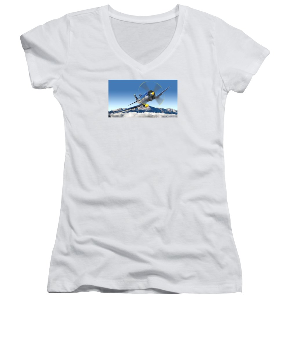 F4-u Corsair Women's V-Neck (Athletic Fit) featuring the photograph F4-u Corsair by Larry McManus