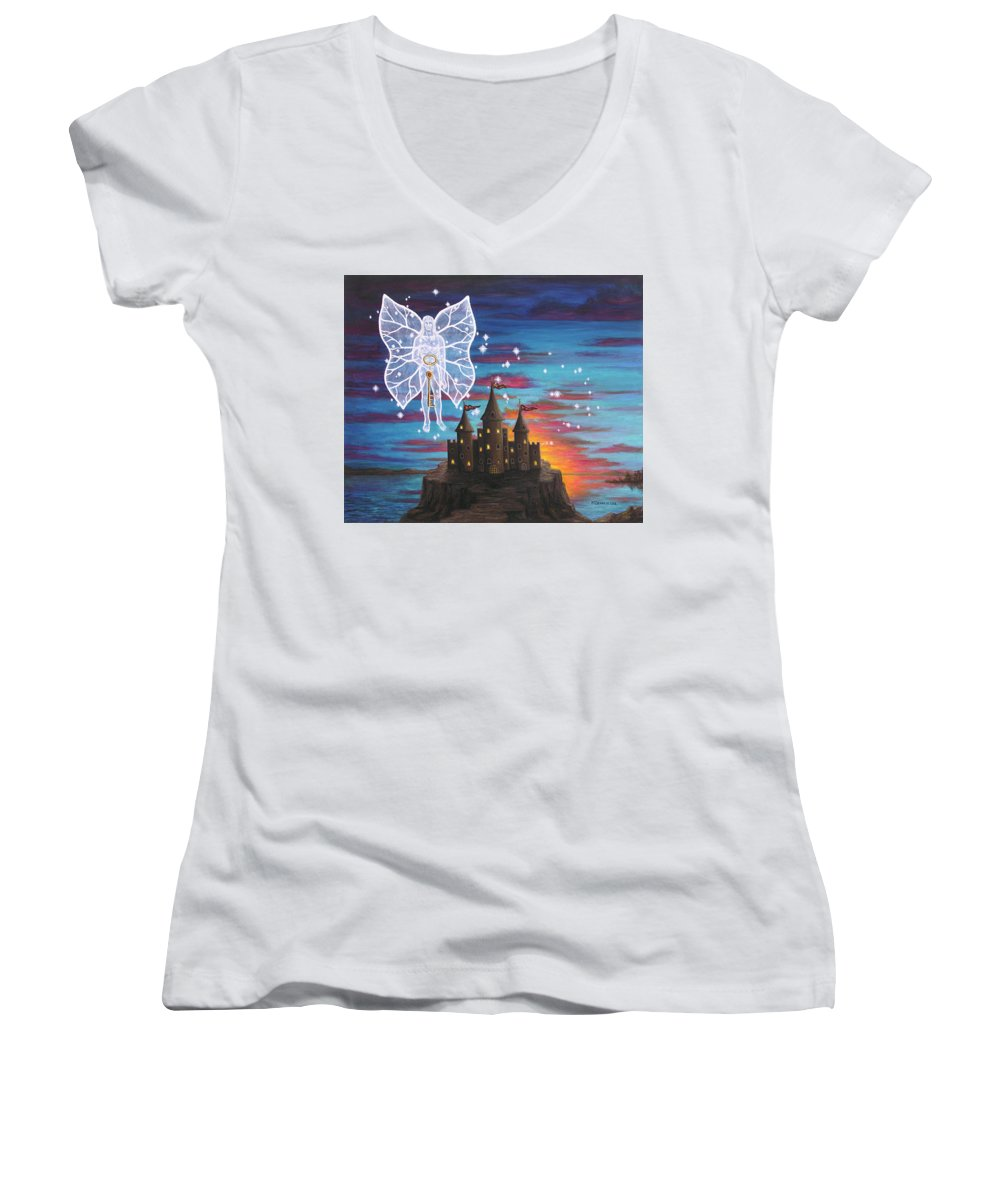 Fantasy Women's V-Neck T-Shirt featuring the painting Fairy Takes The Key by Roz Eve