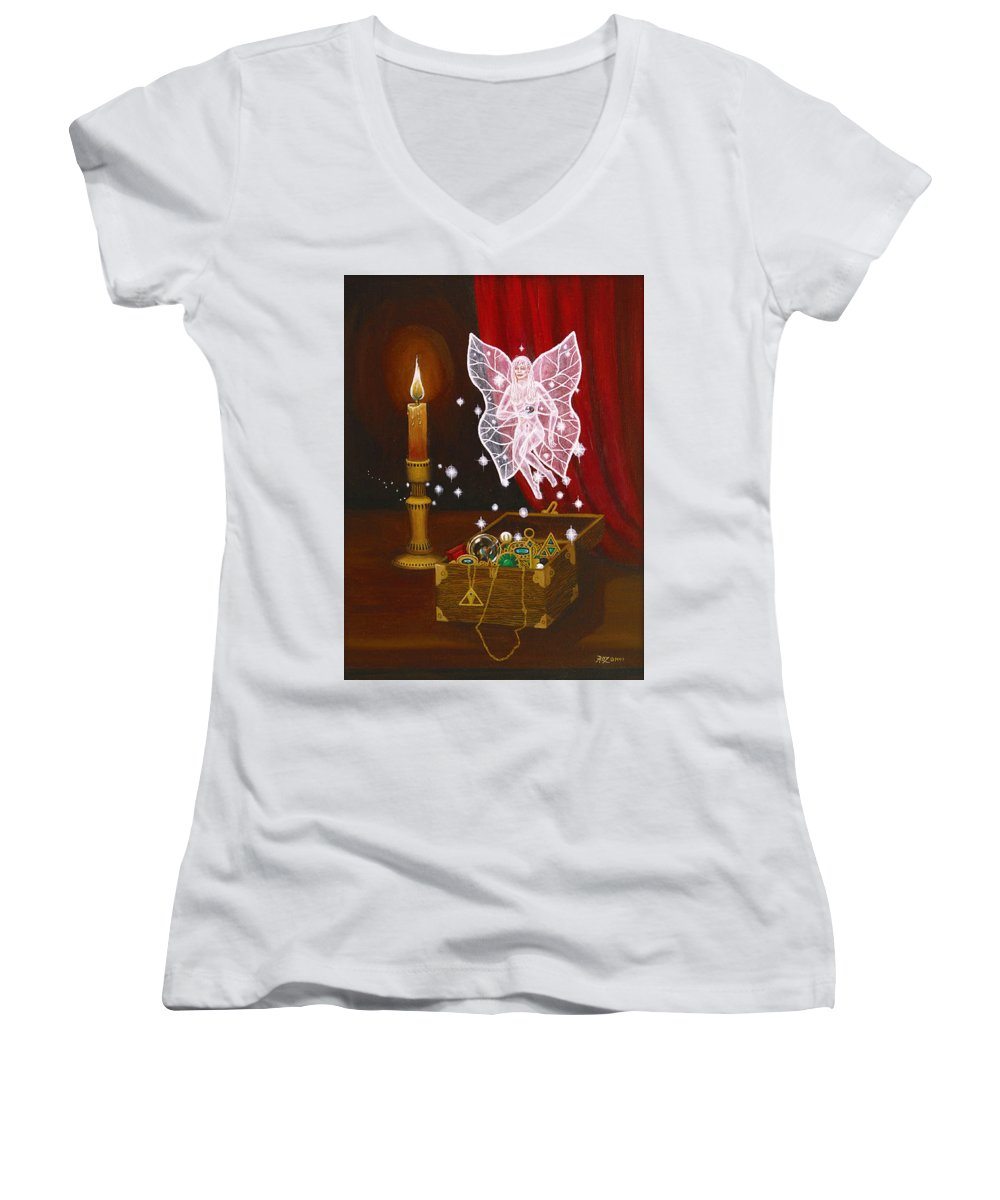 Fairy Women's V-Neck T-Shirt (Junior Cut) featuring the painting Fairy Treasure by Roz Eve