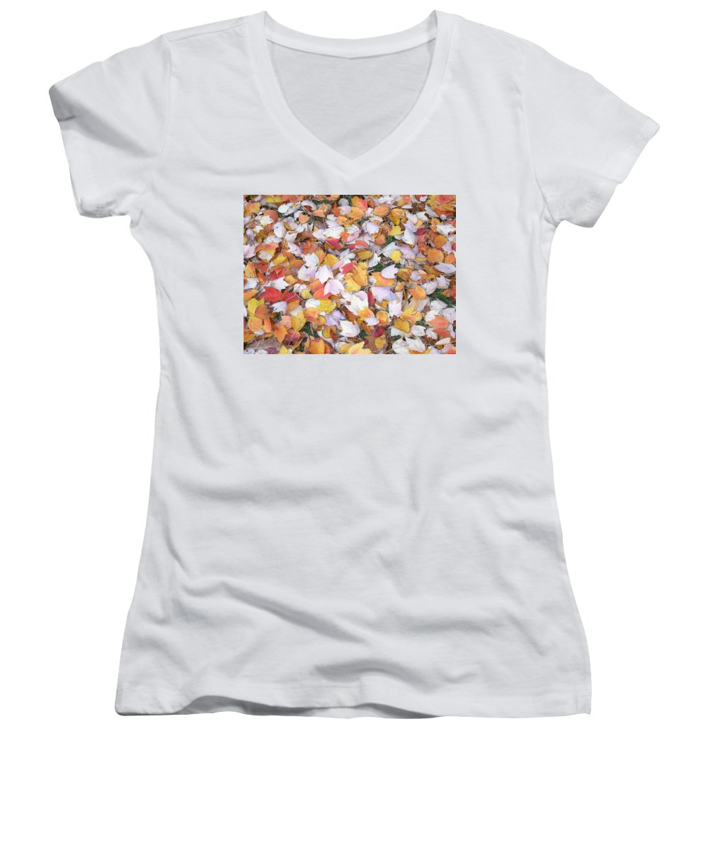 Photography Fall Autum Leaves Women's V-Neck T-Shirt featuring the photograph Fallen Fantasy by Karin Dawn Kelshall- Best