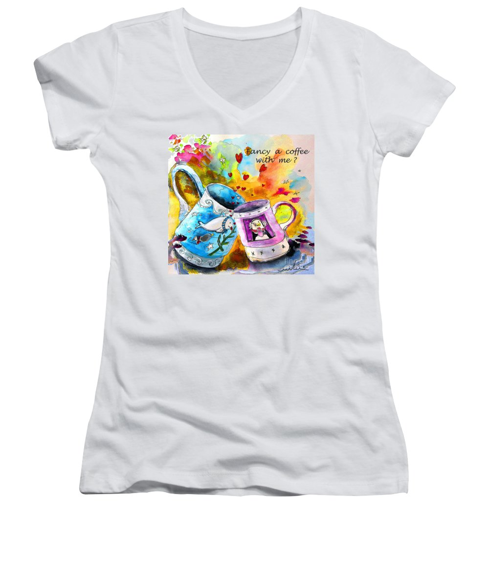 Cafe Crem Women's V-Neck (Athletic Fit) featuring the painting Fancy A Coffee by Miki De Goodaboom