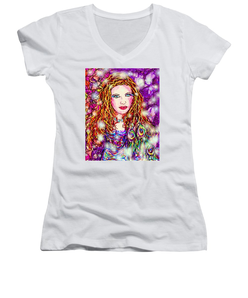 Female Women's V-Neck T-Shirt featuring the digital art Fancy Lady by Natalie Holland