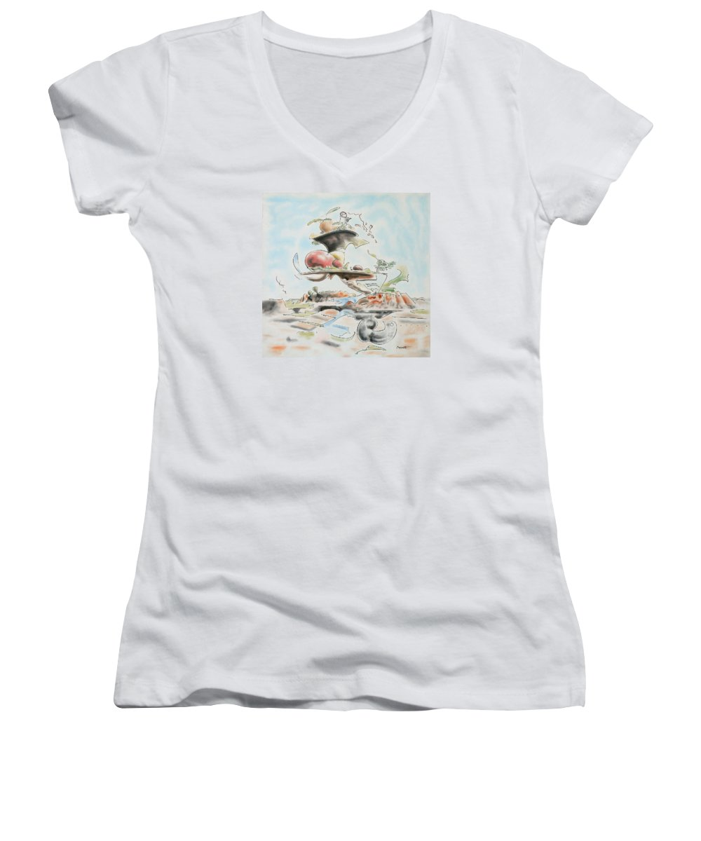 Abstract Women's V-Neck T-Shirt featuring the painting Fast Food by Dave Martsolf
