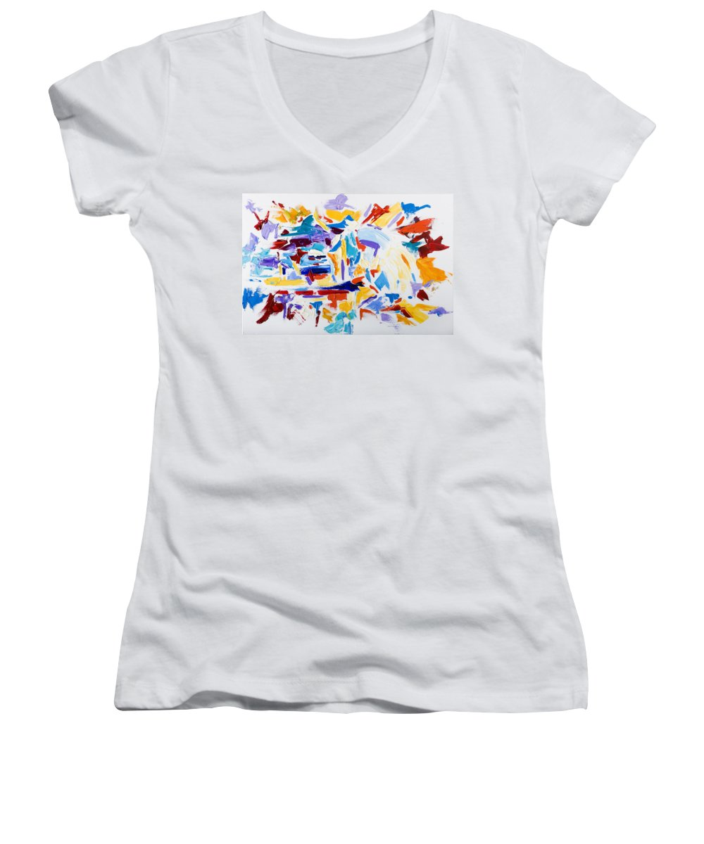 Abstract Yellow Women's V-Neck T-Shirt featuring the painting Fiesta by Shannon Grissom