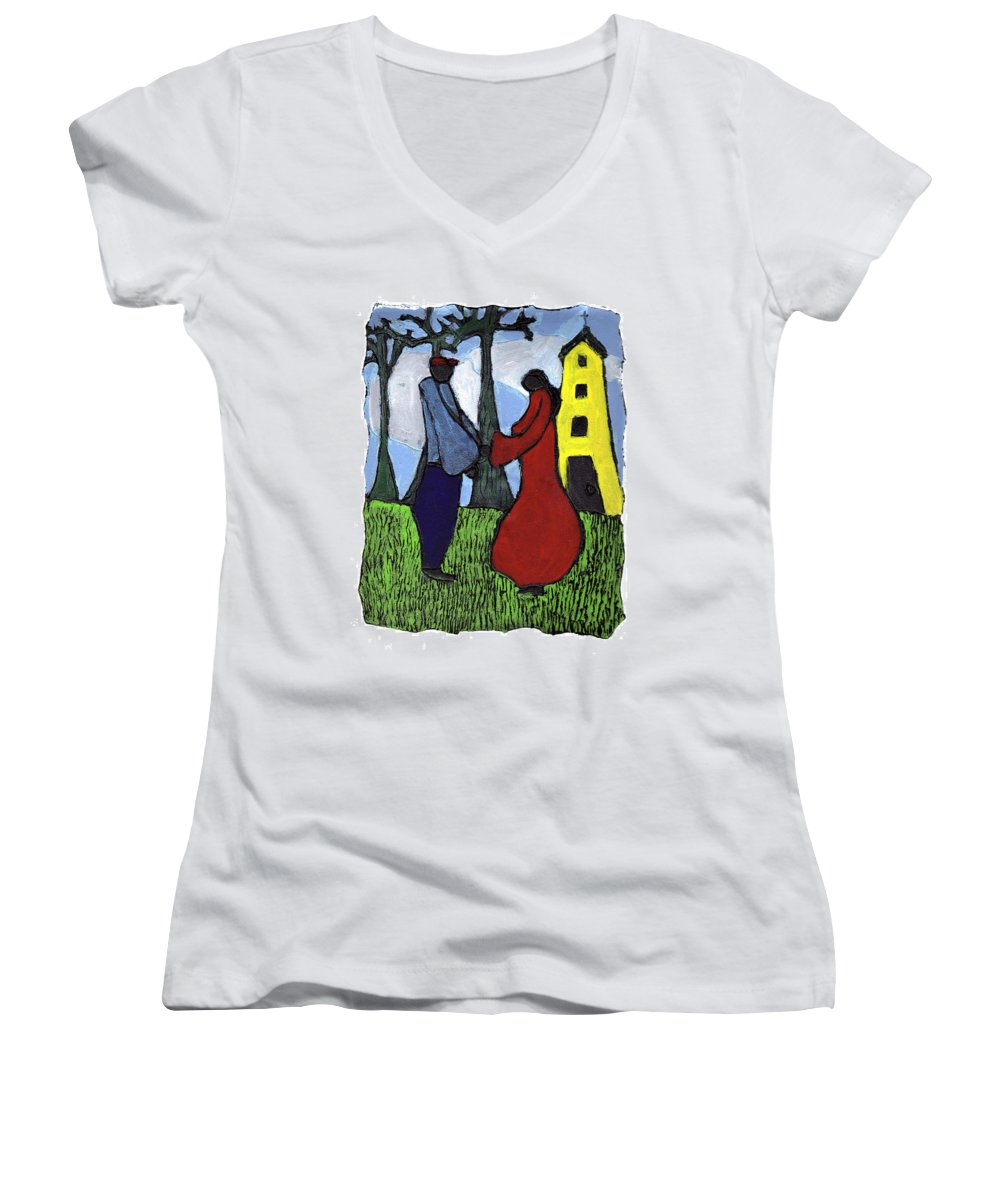 Love Women's V-Neck (Athletic Fit) featuring the painting First Love by Wayne Potrafka
