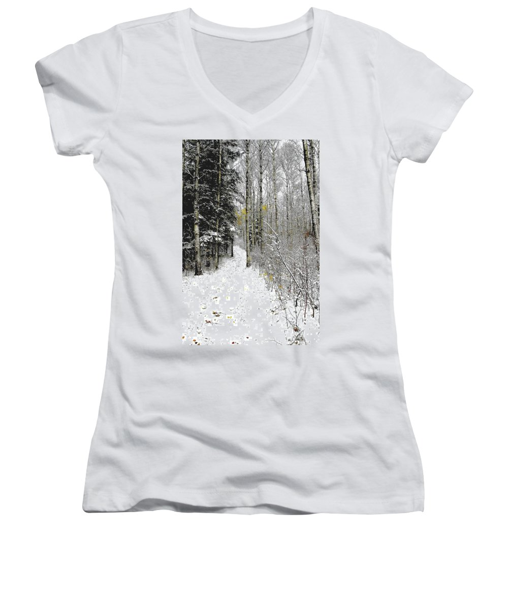 Winter Women's V-Neck T-Shirt featuring the photograph First Snowfall by Nelson Strong