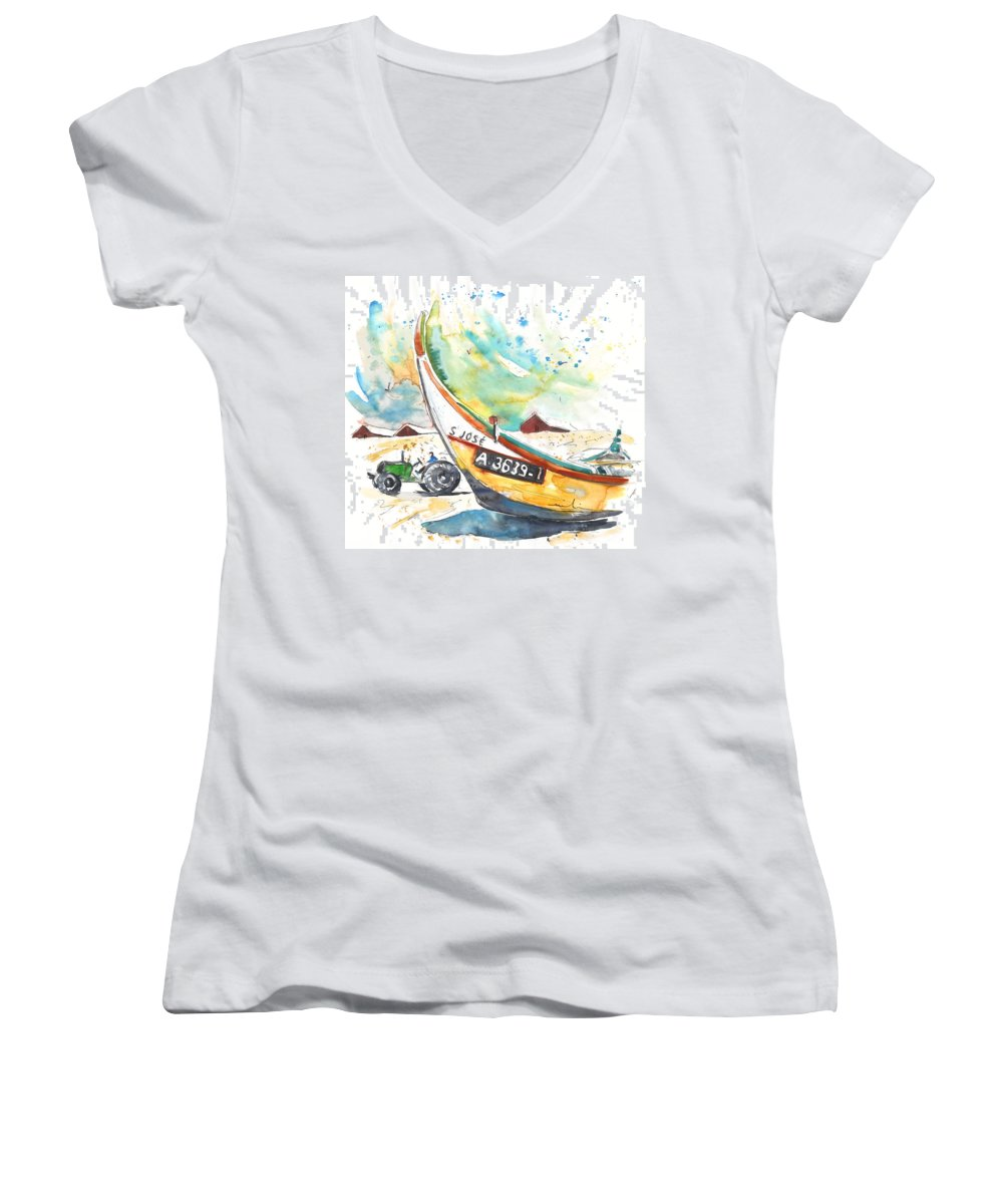 Portugal Women's V-Neck T-Shirt featuring the painting Fisherboat In Praia De Mira by Miki De Goodaboom