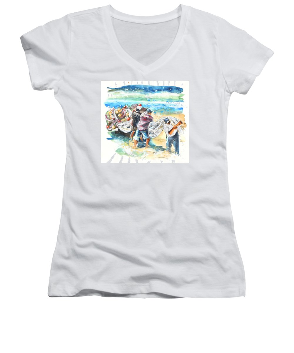 Portugal Women's V-Neck (Athletic Fit) featuring the painting Fishermen In Praia De Mira by Miki De Goodaboom