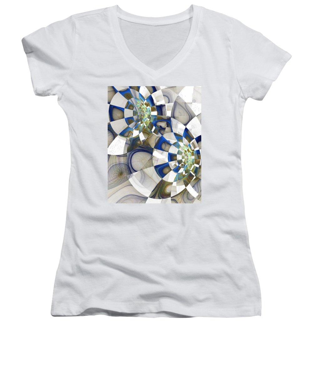Digital Art Women's V-Neck T-Shirt featuring the digital art Flight by Amanda Moore