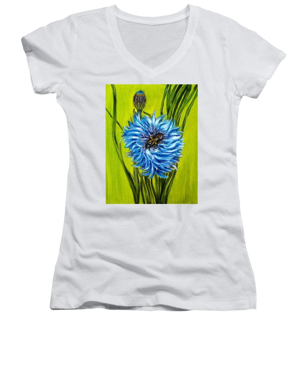 Flower Women's V-Neck (Athletic Fit) featuring the painting Flower And Bee Oil Painting by Natalja Picugina
