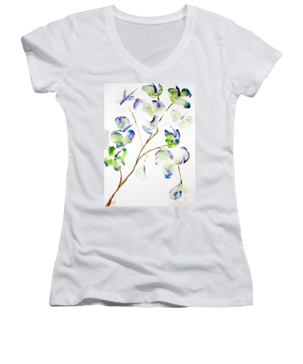 Flower Women's V-Neck T-Shirt featuring the painting Flower by Shelley Jones