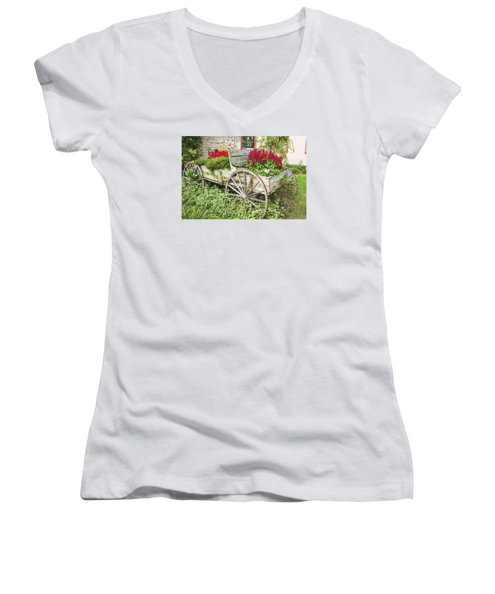 Wagon Women's V-Neck (Athletic Fit) featuring the photograph Flower Wagon by Margie Wildblood