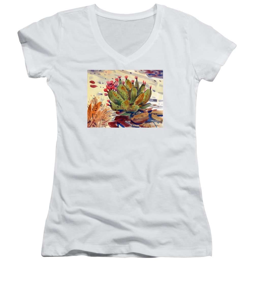 Opuntia Cactus Women's V-Neck (Athletic Fit) featuring the painting Flowering Opuntia by Donald Maier