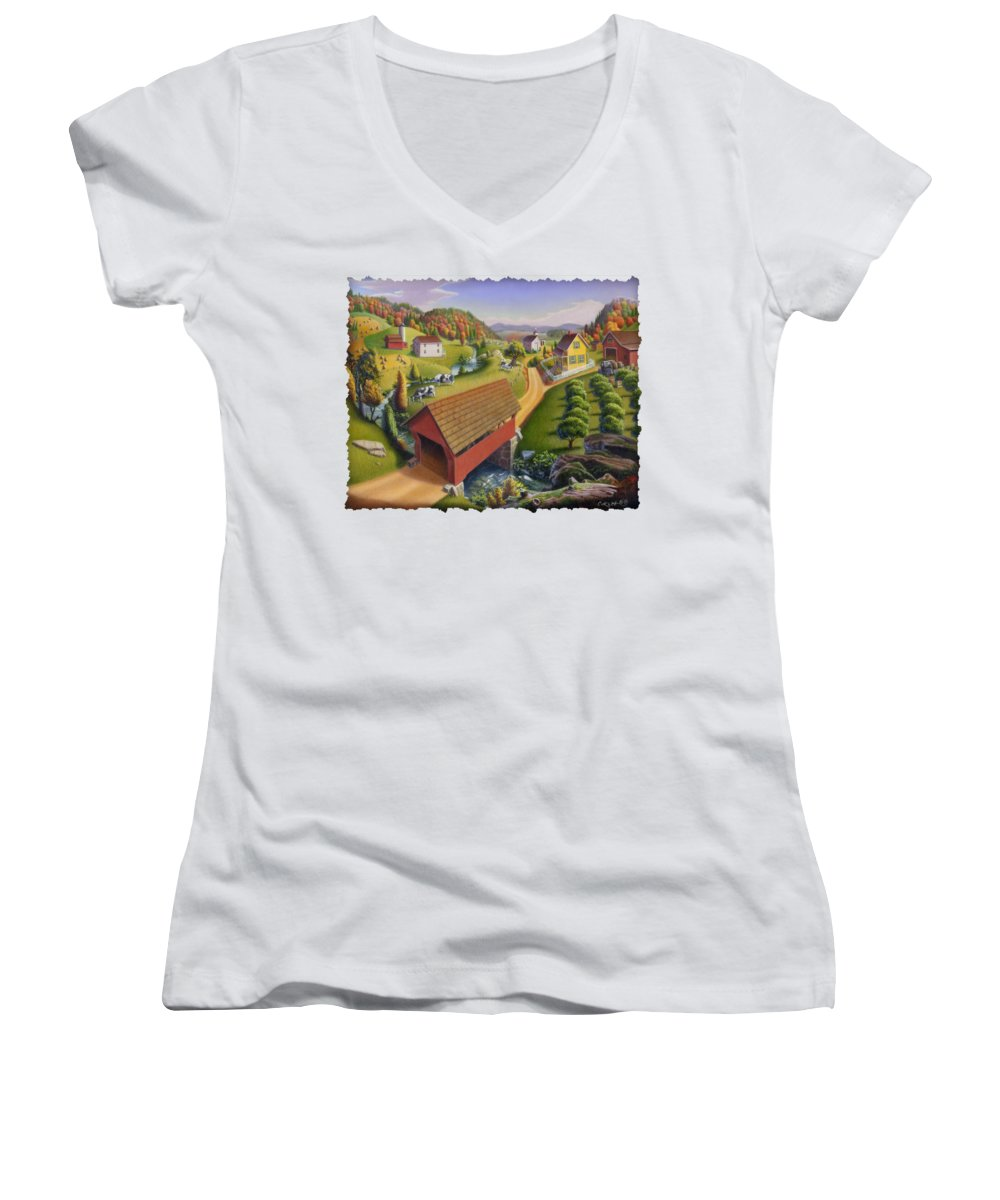 Covered Bridge Women's V-Neck (Athletic Fit) featuring the painting Folk Art Covered Bridge Appalachian Country Farm Summer Landscape - Appalachia - Rural Americana by Walt Curlee
