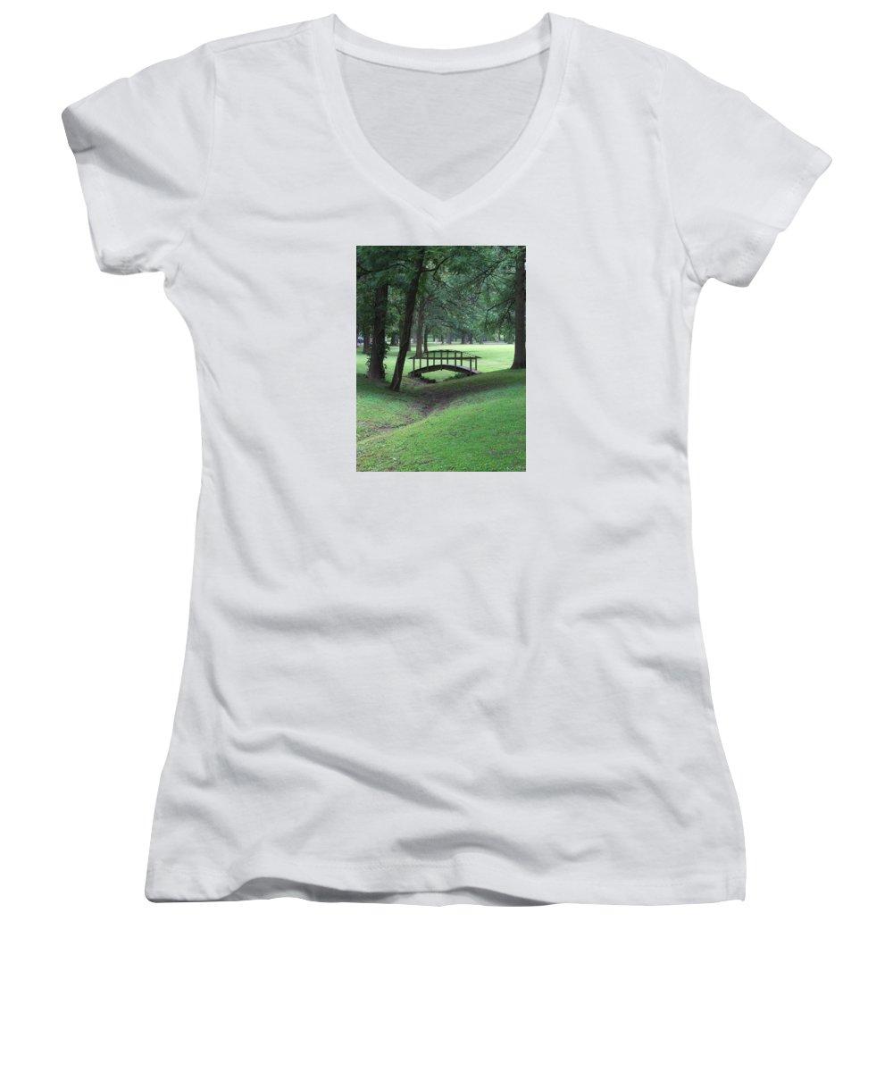Bridge Women's V-Neck T-Shirt featuring the photograph Foot Bridge In The Park by J R Seymour