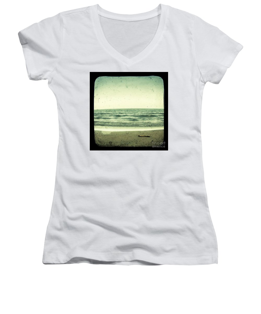 Ttv Women's V-Neck T-Shirt featuring the photograph Forget Yesterday by Dana DiPasquale