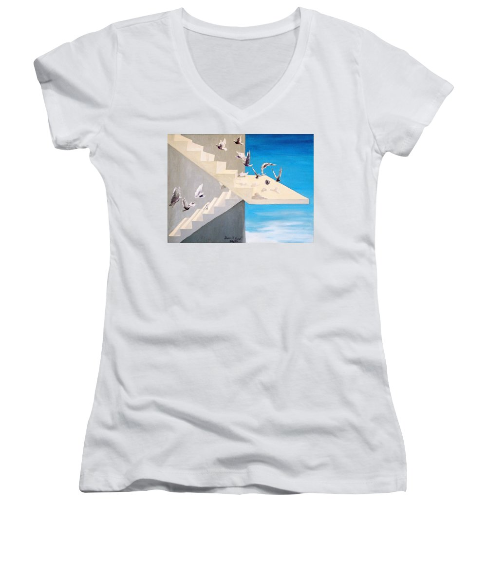 Birds Women's V-Neck (Athletic Fit) featuring the painting Form Without Function by Steve Karol