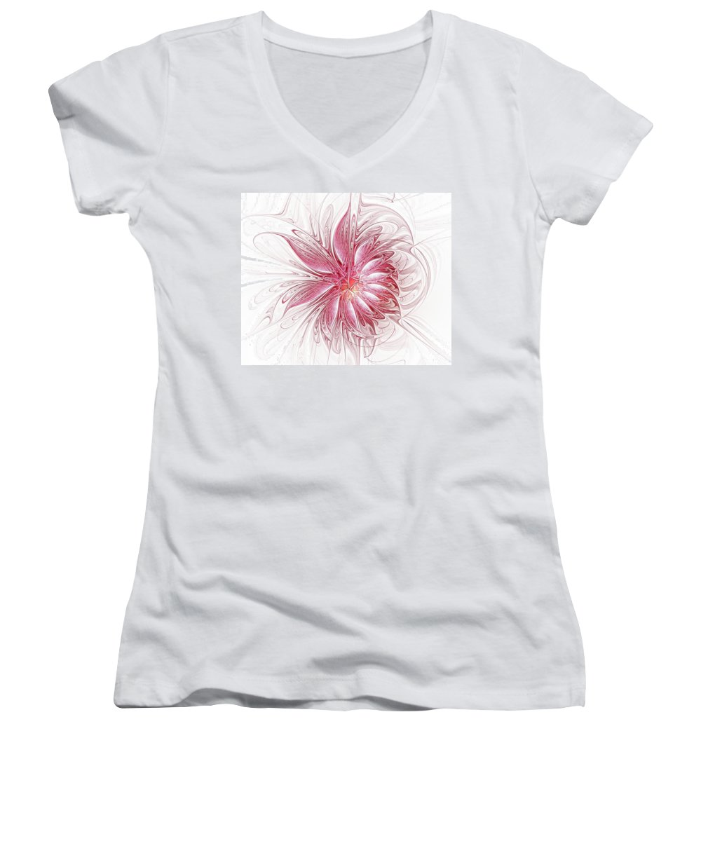 Digital Art Women's V-Neck T-Shirt featuring the digital art Fragile by Amanda Moore