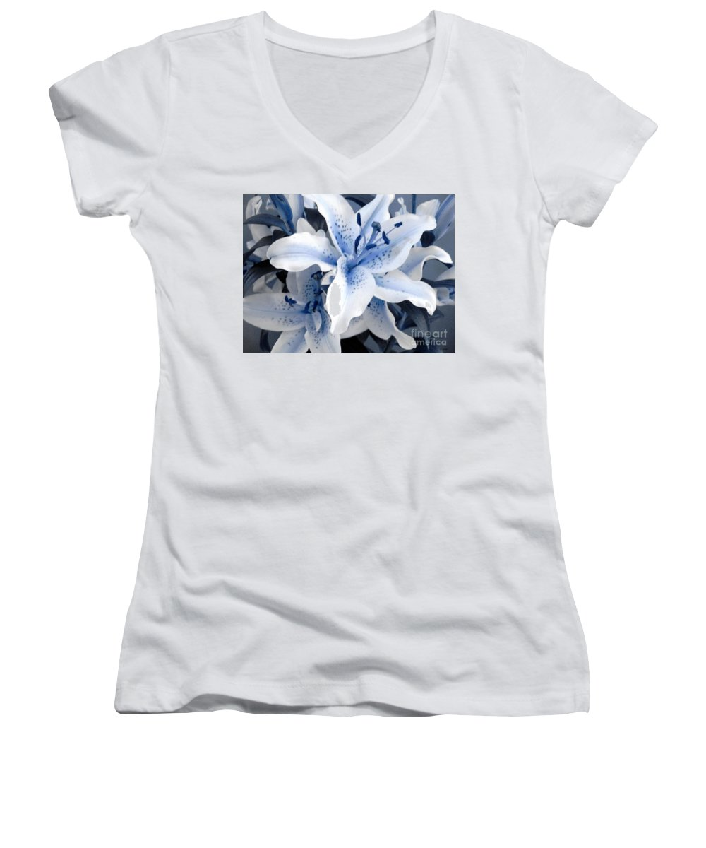 Blue Women's V-Neck (Athletic Fit) featuring the photograph Freeze by Shelley Jones
