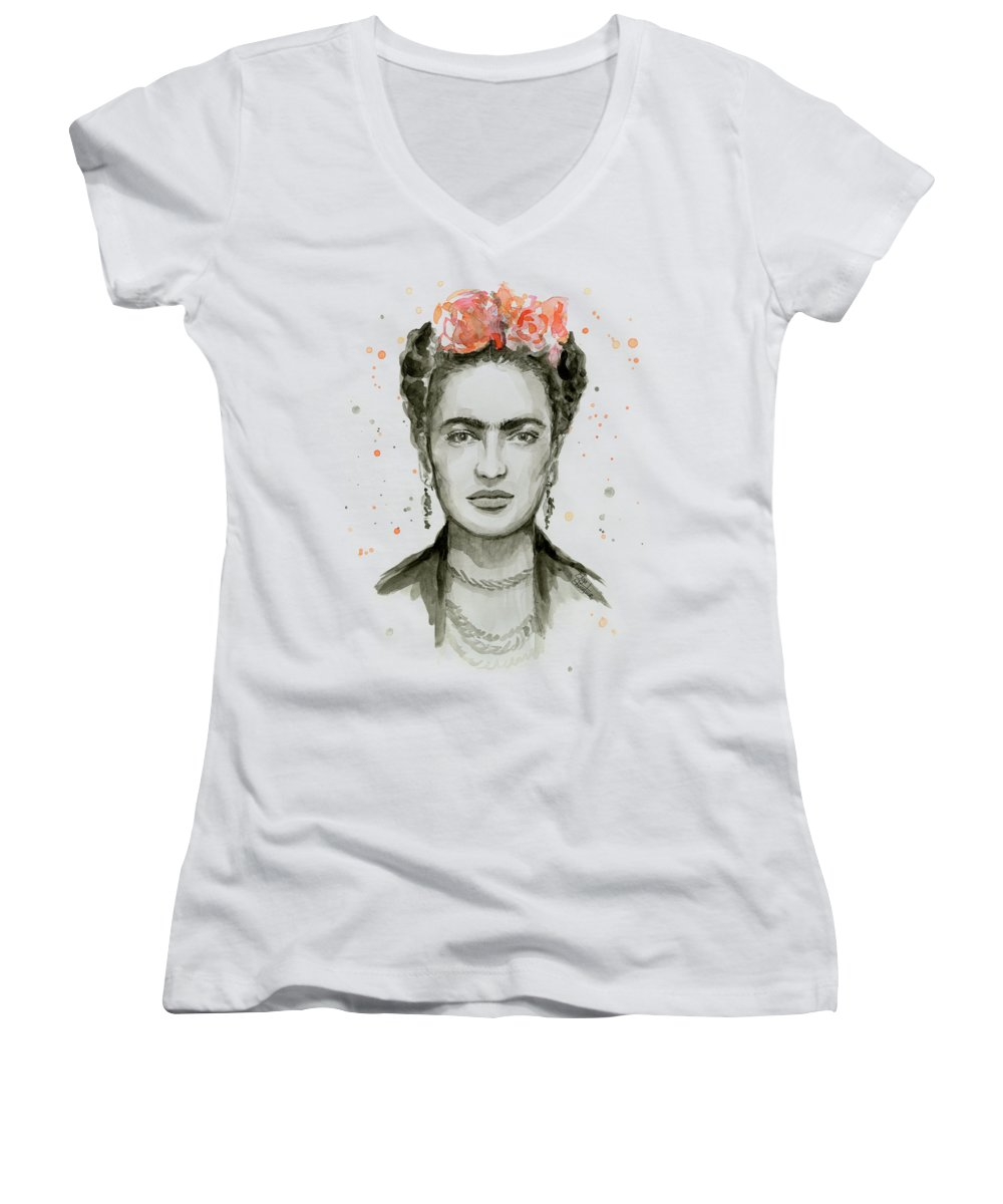 6531d6d03 Frida Kahlo Women's V-Neck featuring the painting Frida Kahlo Portrait by  Olga Shvartsur