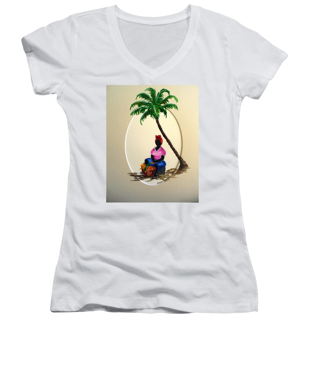 Women's V-Neck T-Shirt featuring the painting Fruit Seller by Karin Dawn Kelshall- Best