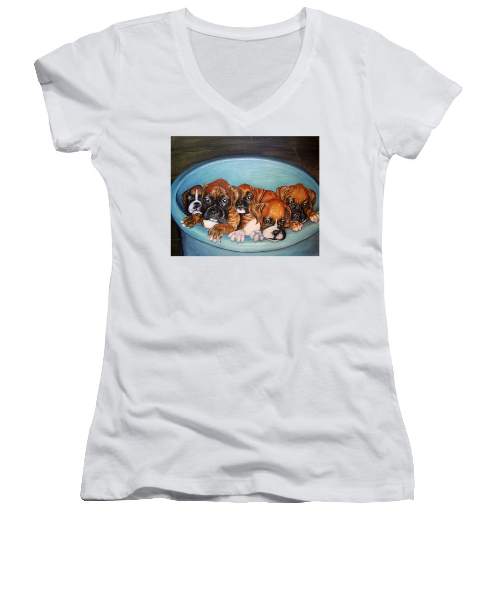 Oil Women's V-Neck T-Shirt featuring the painting Funny Puppies Orginal Oil Painting by Natalja Picugina