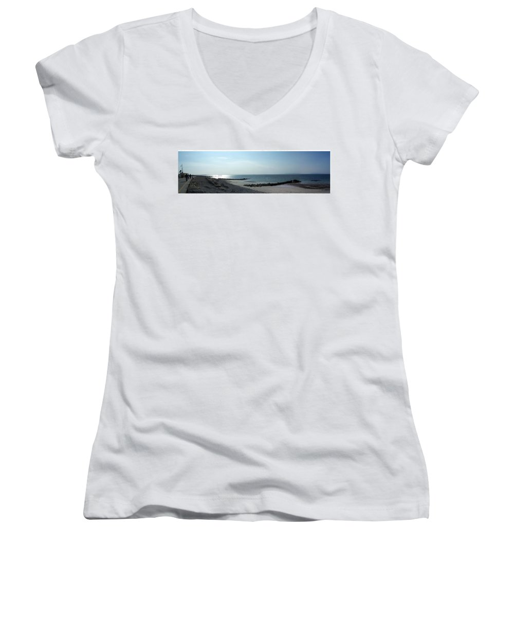 Irish Women's V-Neck T-Shirt featuring the photograph Galway Bay At Salt Hill Park Galway Ireland by Teresa Mucha