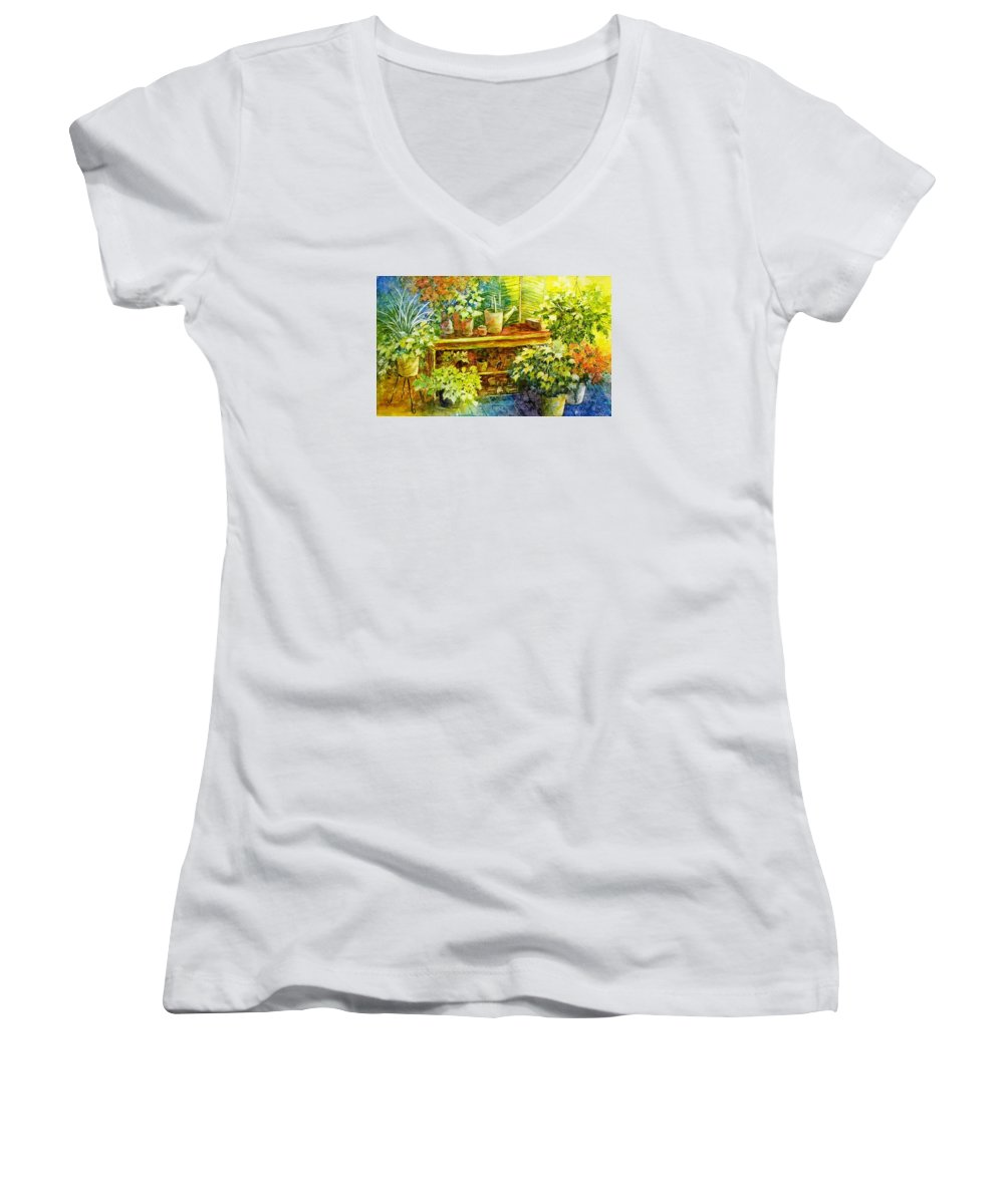 Greenhouse;plants;flowers;gardener;workbench;sprinkling Can;contemporary Women's V-Neck T-Shirt featuring the painting Gardener's Joy by Lois Mountz