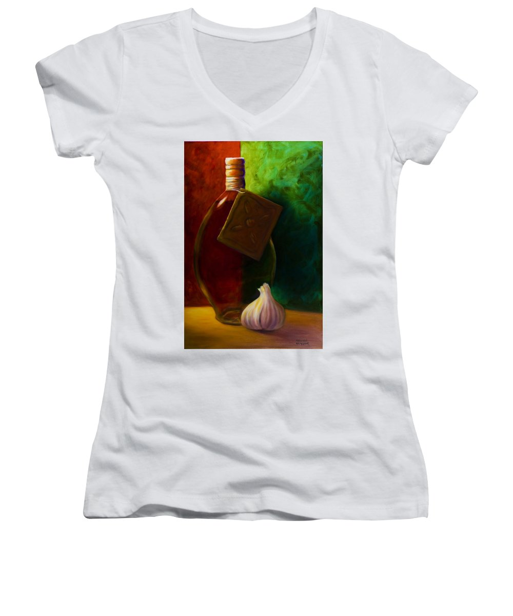 Shannon Grissom Women's V-Neck (Athletic Fit) featuring the painting Garlic And Oil by Shannon Grissom