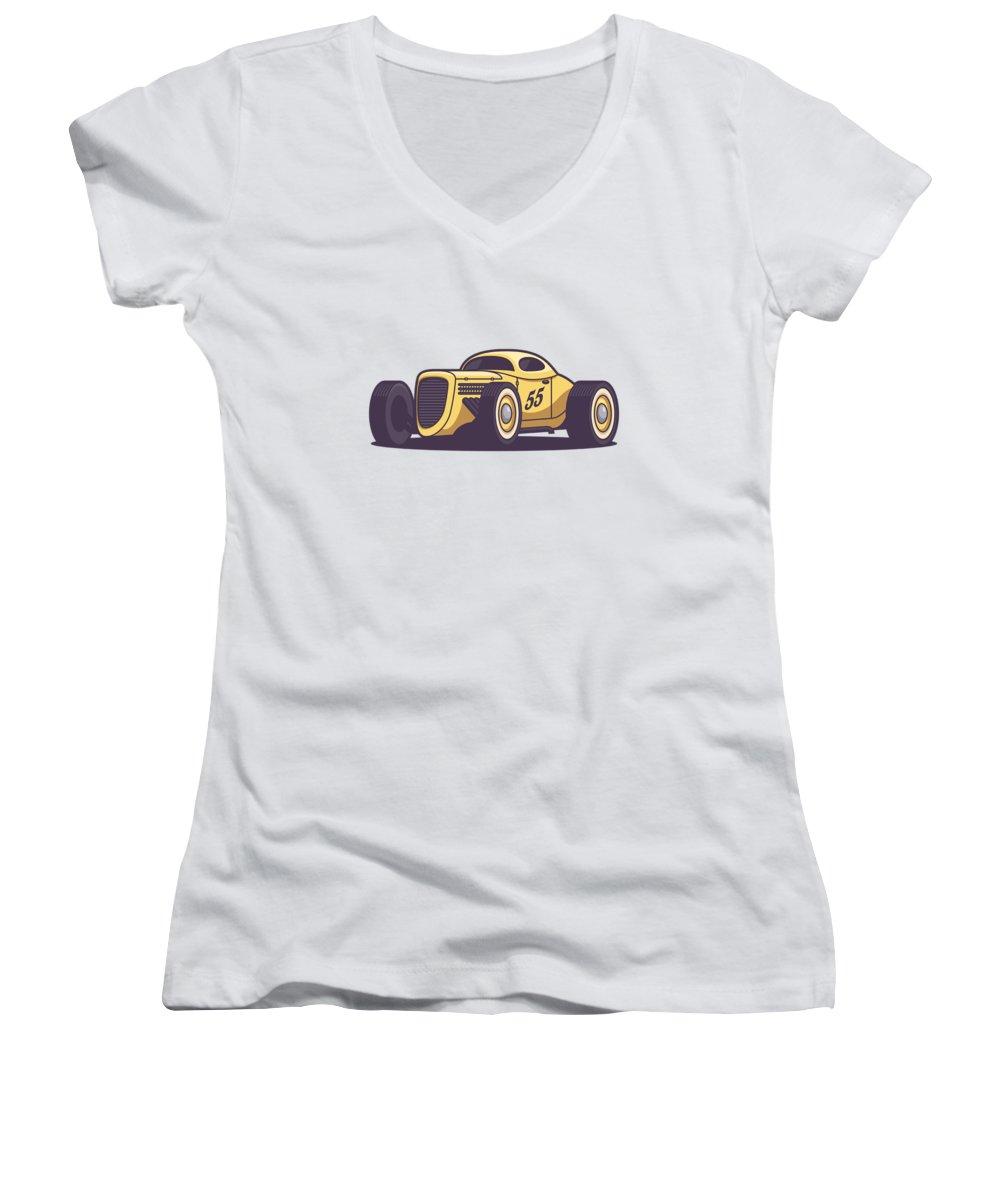 Hot Rod Women's V-Neck featuring the digital art Gaz Gl1 Custom Vintage Hot Rod Classic Street Racer Car - Yellow by Ivan Krpan
