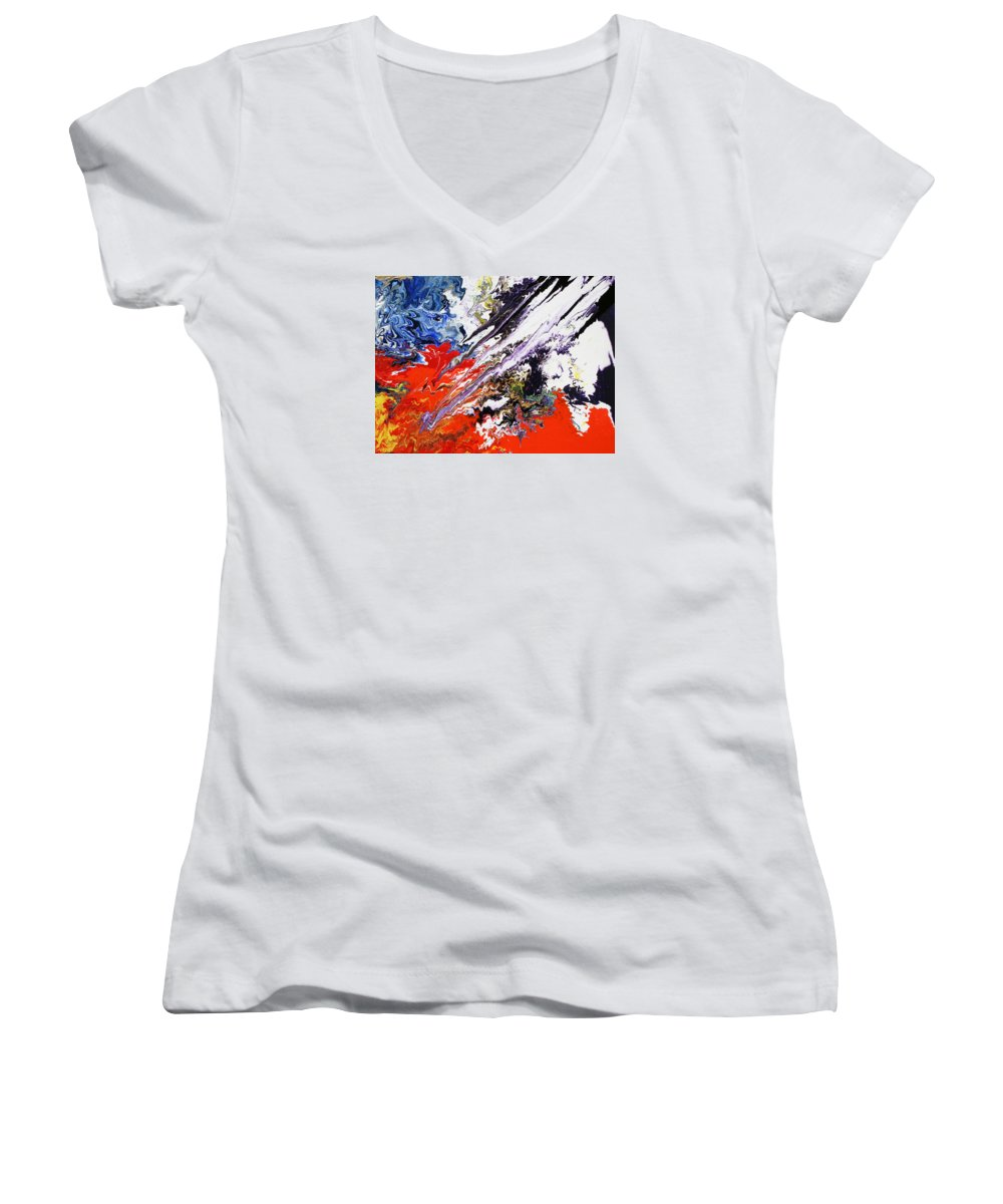 Fusionart Women's V-Neck T-Shirt featuring the painting Genesis by Ralph White
