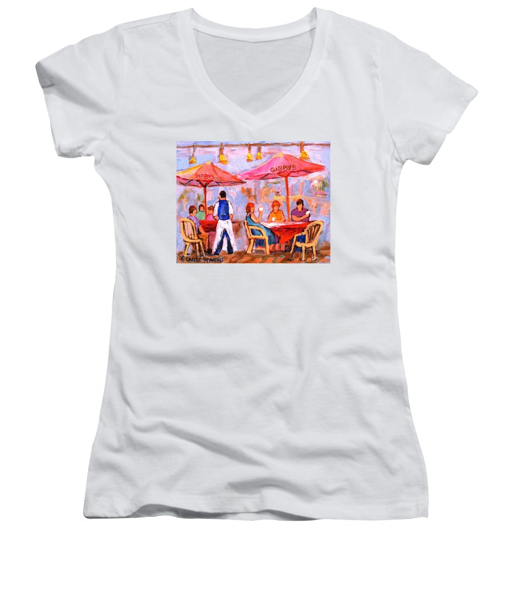 Gibbys Restaurant Montreal Street Scenes Women's V-Neck (Athletic Fit) featuring the painting Gibbys Cafe by Carole Spandau