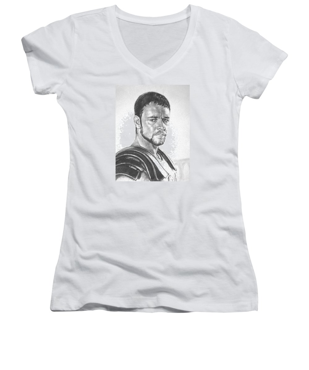 Portraits Women's V-Neck T-Shirt featuring the drawing Gladiator by Iliyan Bozhanov
