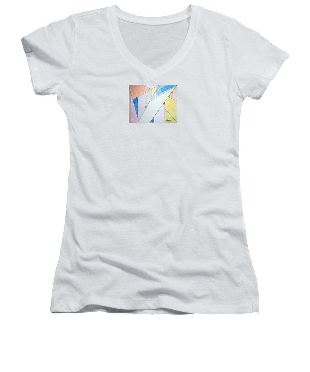 Buildings Women's V-Neck (Athletic Fit) featuring the mixed media Glass-scrapers by J R Seymour