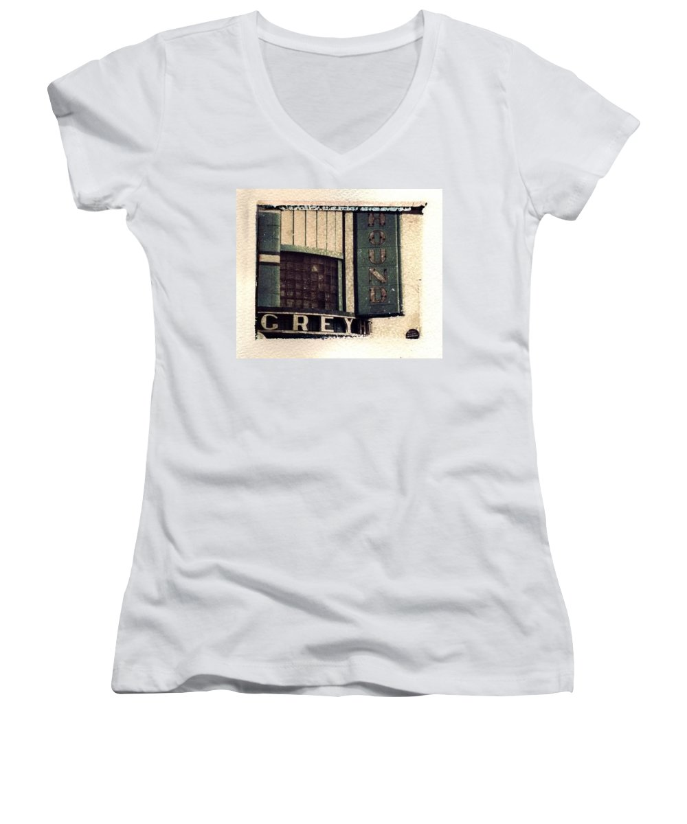 Polaroid Transfer Women's V-Neck (Athletic Fit) featuring the photograph Go Greyhound And Leave The Driving To Us by Jane Linders