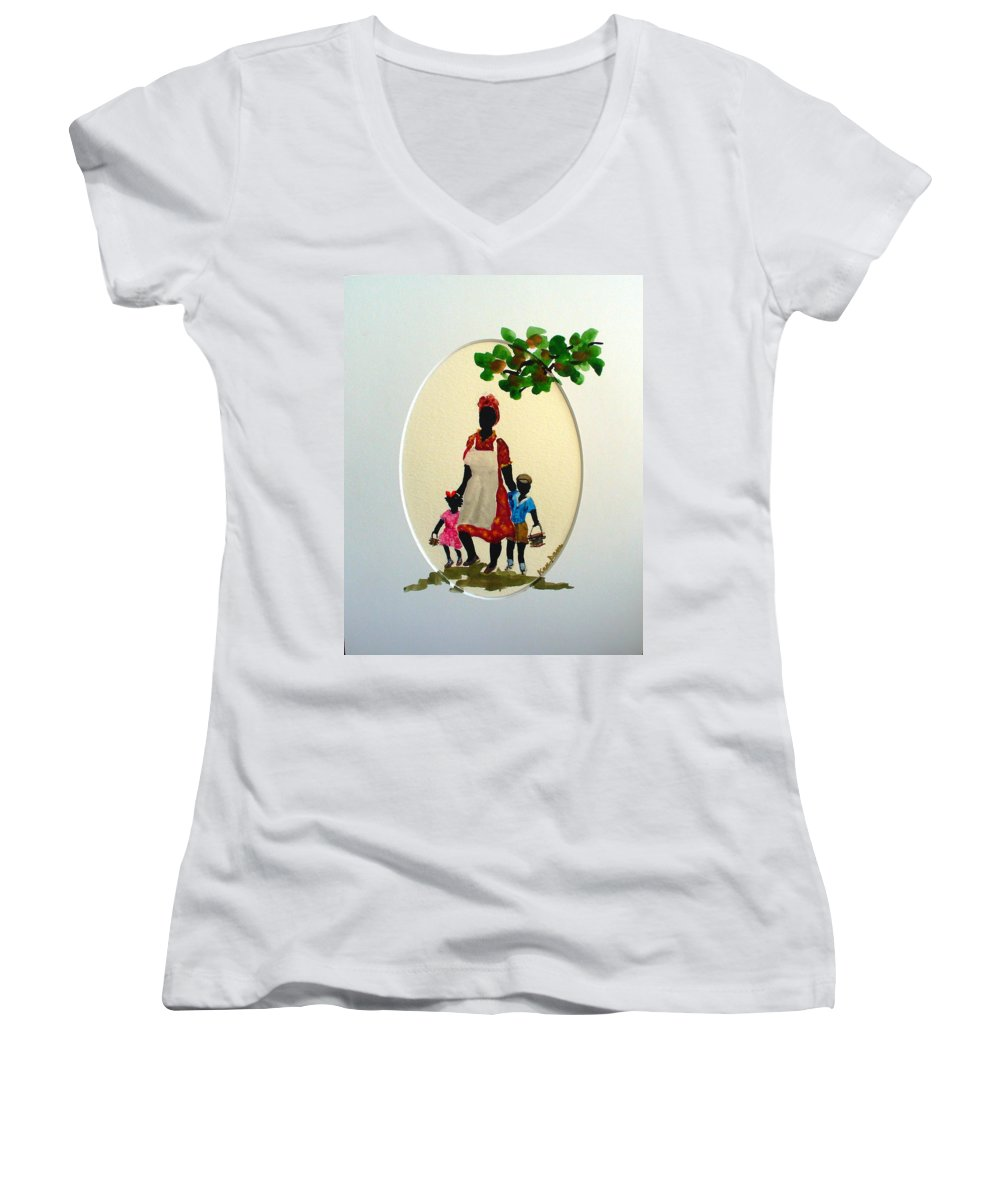 Caribbean Children Women's V-Neck (Athletic Fit) featuring the painting Going To School by Karin Dawn Kelshall- Best