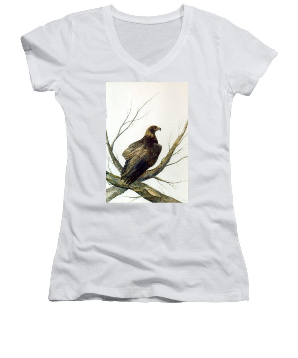 Eagle Women's V-Neck (Athletic Fit) featuring the painting Golden Eagle by Ben Kiger
