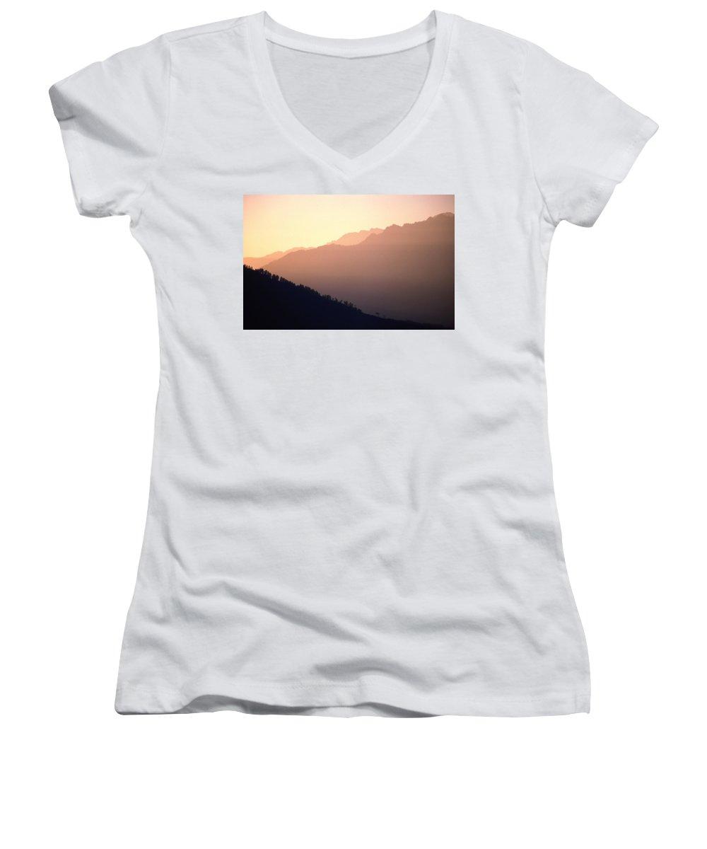 Langtang Women's V-Neck T-Shirt featuring the photograph Golden Mountains by Patrick Klauss
