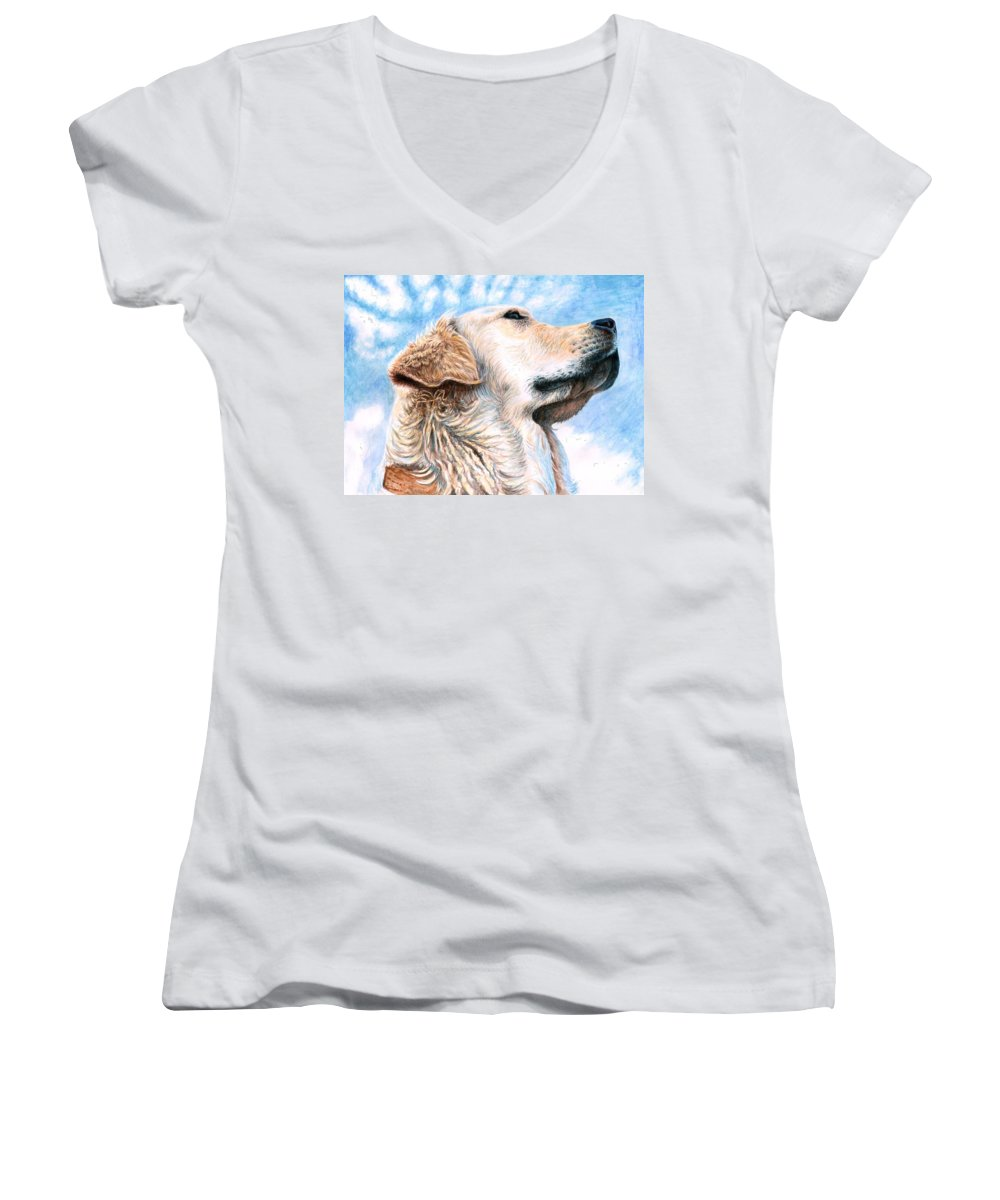 Dog Women's V-Neck (Athletic Fit) featuring the painting Golden Retriever by Nicole Zeug