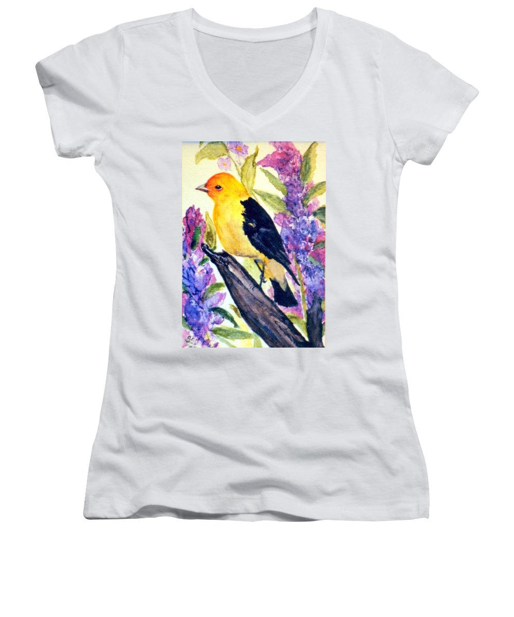 Birds Women's V-Neck T-Shirt featuring the painting Goldfinch by Gail Kirtz