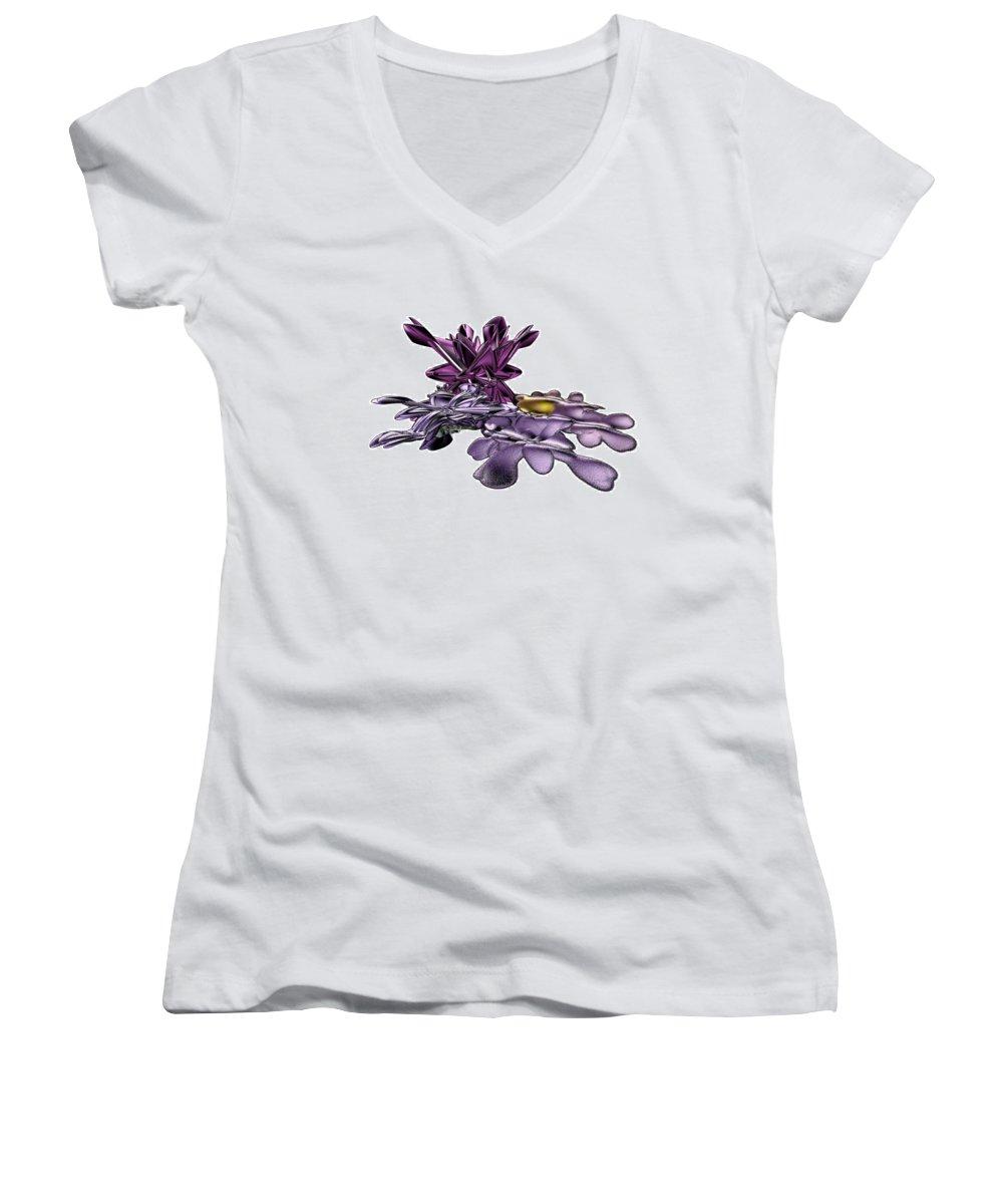 Fractal Women's V-Neck T-Shirt featuring the digital art Golumphr Castle by Frederic Durville