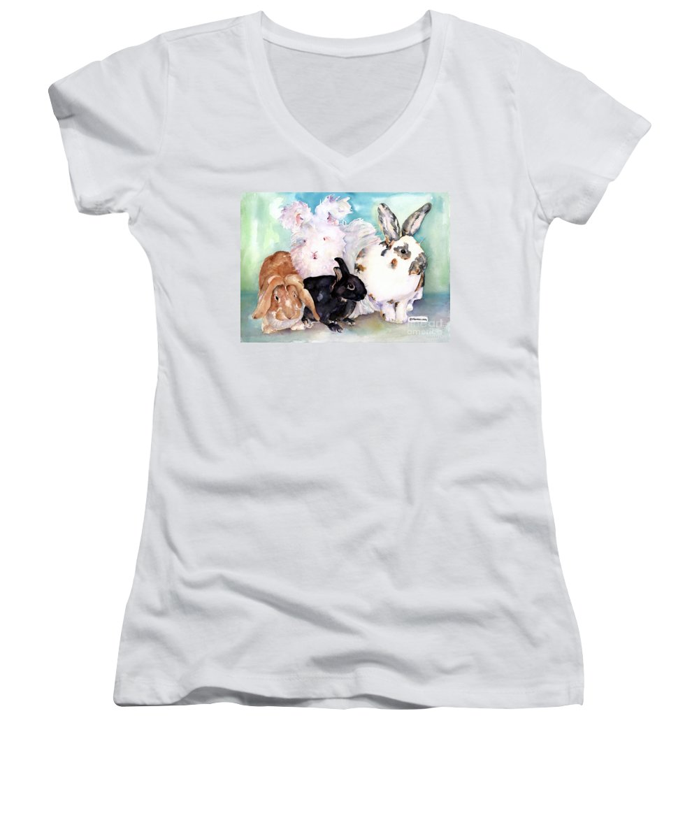 Animal Artwork Women's V-Neck (Athletic Fit) featuring the painting Good Hare Day by Pat Saunders-White