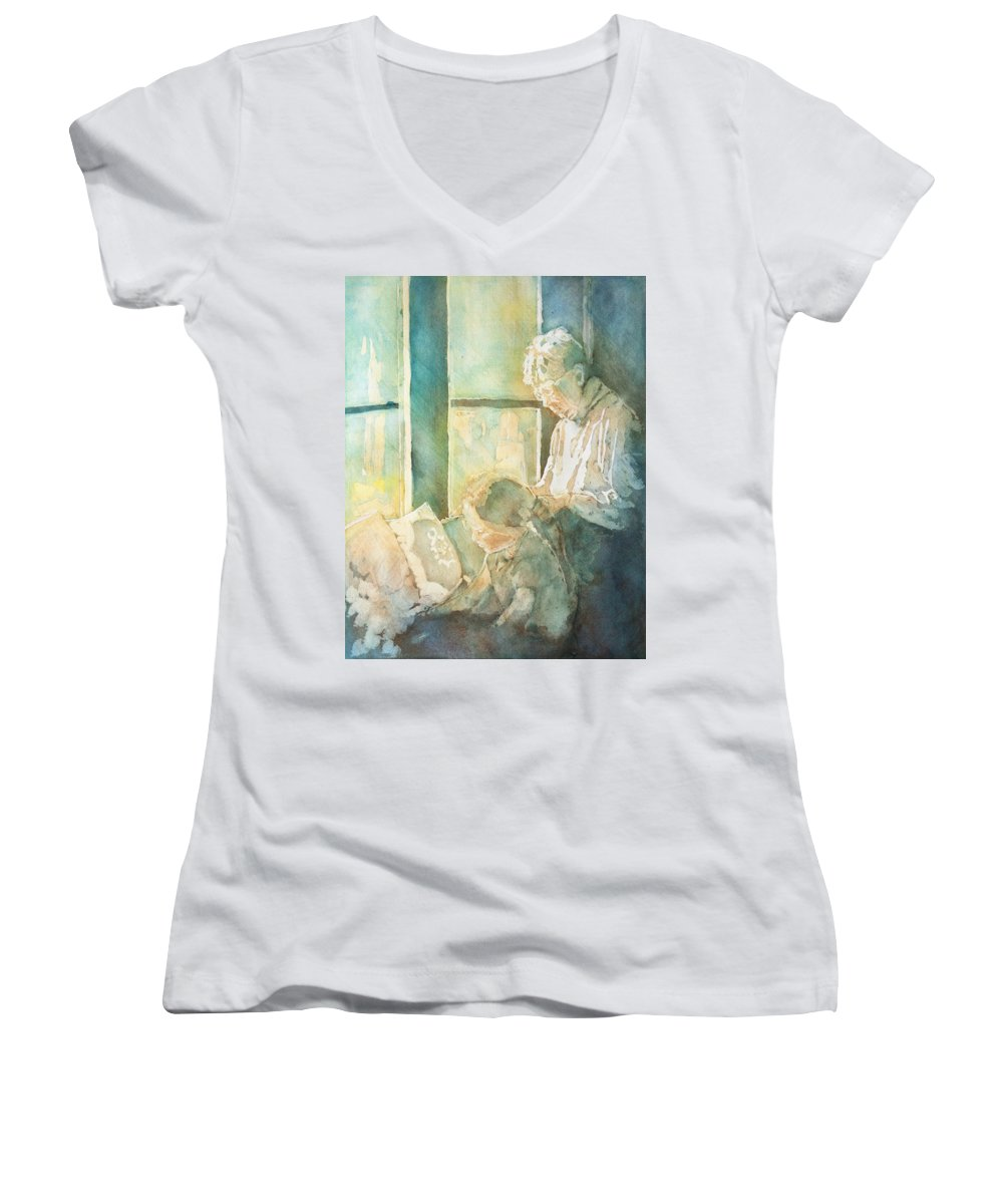 Family Women's V-Neck T-Shirt featuring the painting Gramdma Braids by Jenny Armitage