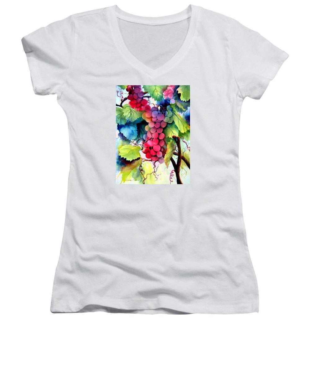 Grapes Women's V-Neck T-Shirt featuring the painting Grapes by Karen Stark