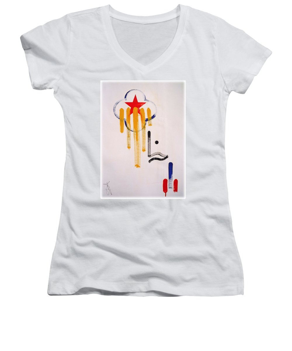 Drawing Women's V-Neck T-Shirt featuring the painting Great American Image by Charles Stuart